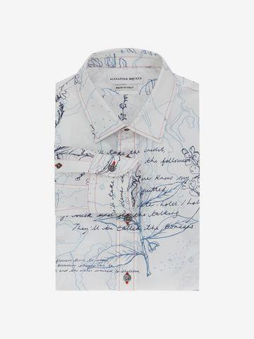 ALEXANDER MCQUEEN Explorer Print Fitted Shirt Long Sleeve Shirt Man f