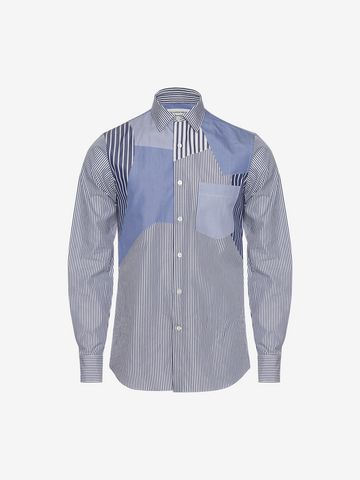 ALEXANDER MCQUEEN Patchwork Shirt Long Sleeve Shirt Man a