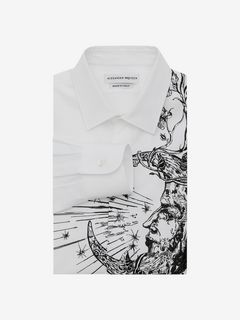 "ALEXANDER MCQUEEN Long Sleeve Shirt Man ""Flower & Moon"" Embroidered Shirt f"