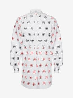 ALEXANDER MCQUEEN Long Sleeve Shirt U Folk Embroidery Patchwork Shirt f