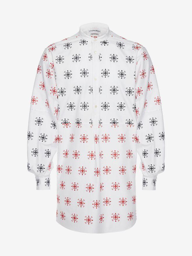 ALEXANDER MCQUEEN Folk Embroidery Patchwork Shirt Long Sleeve Shirt U f