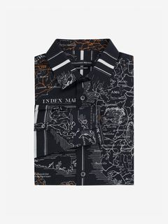 ALEXANDER MCQUEEN Long Sleeve Shirt Man Small Map Print Poplin Shirt f