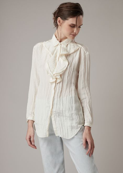7a00d41187 Crepon Satin Shirt With Double Ruffle At The Neck for Women   Giorgio Armani