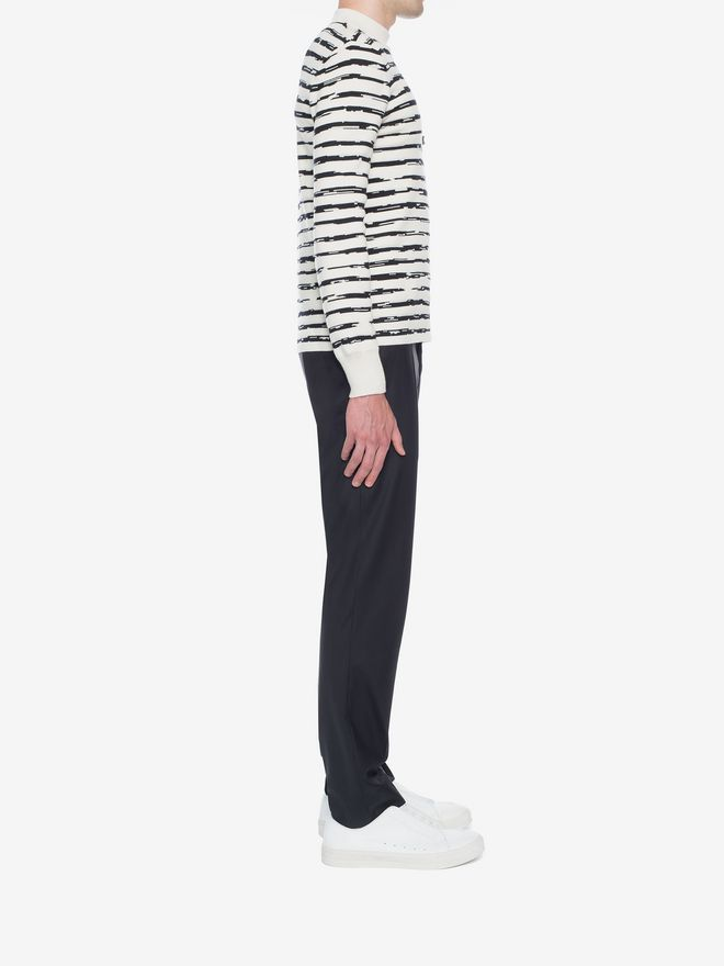 ALEXANDER MCQUEEN Striped Wool Rib Jumper Jumper Man d