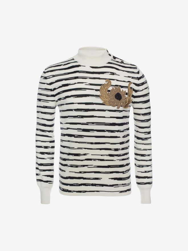 ALEXANDER MCQUEEN Striped Wool Rib Jumper Jumper Man f