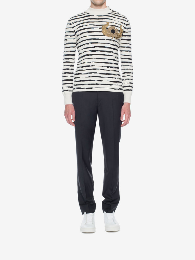 ALEXANDER MCQUEEN Striped Wool Rib Jumper Jumper Man r