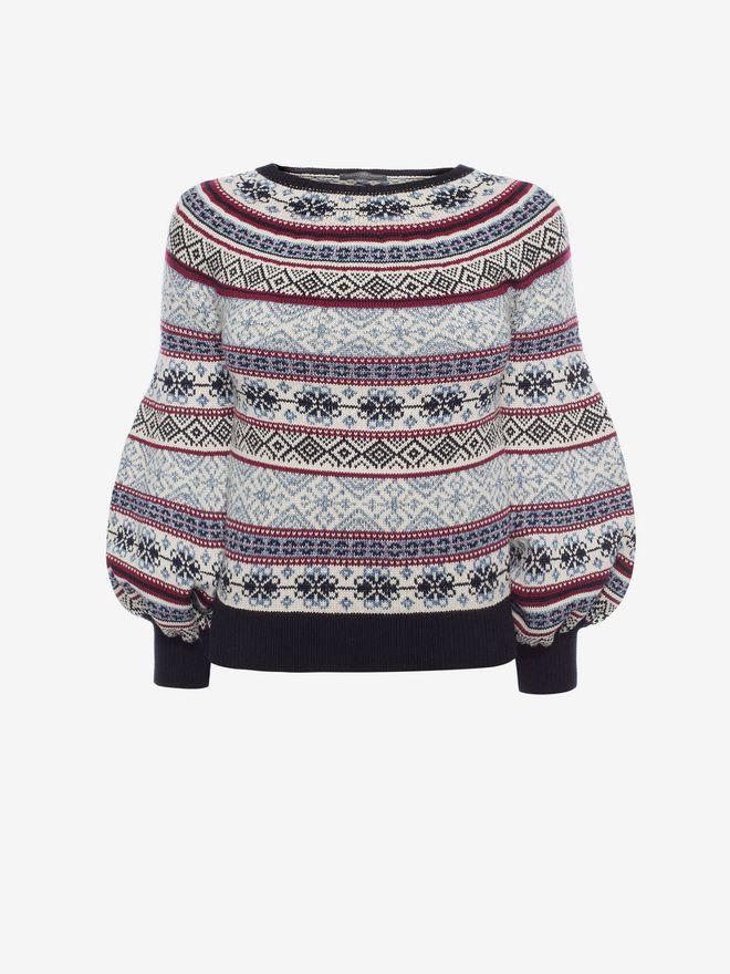 ALEXANDER MCQUEEN Puffed Sleeved Jacquard Jumper Knitwear D f