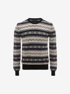 ALEXANDER MCQUEEN Jumper U Geometric Striped Cashmere Pullover f