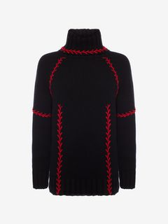 ALEXANDER MCQUEEN Jumper Woman Feather-stitch Embroidered Oversized Sweater f