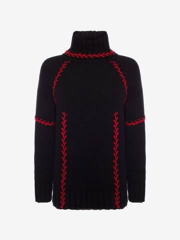 ALEXANDER MCQUEEN Feather-stitch Embroidered Oversized Sweater Jumper Woman  f ...