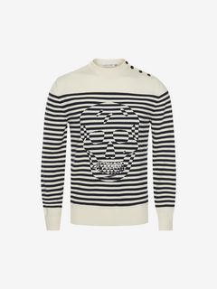 ALEXANDER MCQUEEN Jumper Man Striped Skull Sweater f