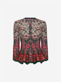 ALEXANDER MCQUEEN Cardigan Woman Flowerbed jacquard knit peplum cardigan f