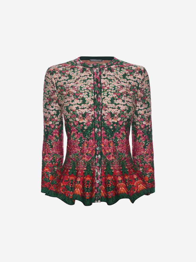ALEXANDER MCQUEEN Flowerbed jacquard knit peplum cardigan Cardigan Woman f