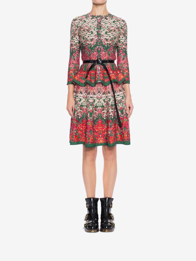 ALEXANDER MCQUEEN Flowerbed jacquard knit peplum cardigan Cardigan Woman r