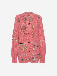 ALEXANDER MCQUEEN Knitwear D Embroidered Oversized Cardigan f