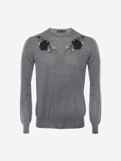 ALEXANDER MCQUEEN Jumper Man Embroidered Rose Crew Neck Sweater f
