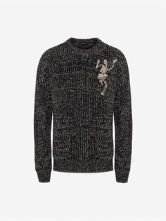 ALEXANDER MCQUEEN Jumper Man Dancing Skeleton Chunky-Knit Sweater f
