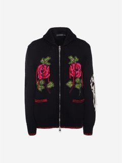 ALEXANDER MCQUEEN Jumper Man Rose Embroidered Chunky Knit f