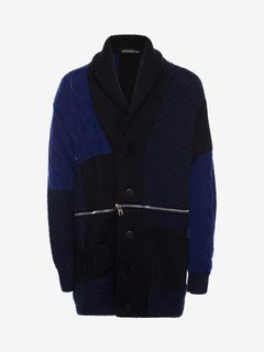 ALEXANDER MCQUEEN セーター メンズ Punk Patchwork Knitted Cardigan f