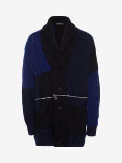 ALEXANDER MCQUEEN Jumper Man Punk Patchwork Knitted Cardigan f