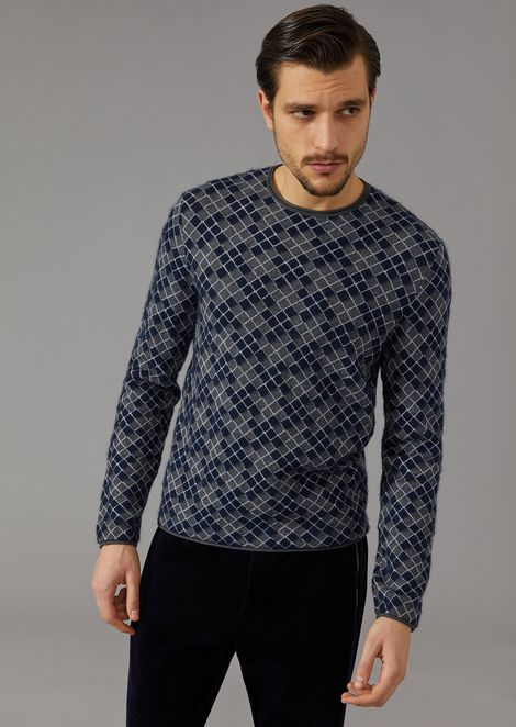 Jacquard Jumper With Houndstooth Motif for Men | Giorgio Armani | Tuggl