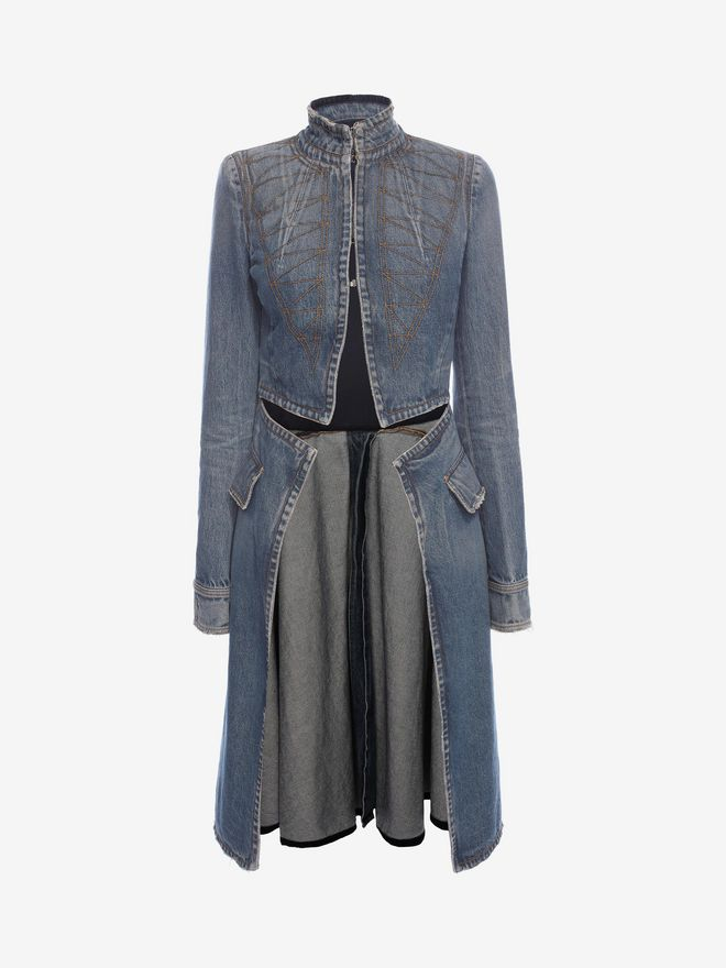 ALEXANDER MCQUEEN Denim Frock Coat Coat Woman f