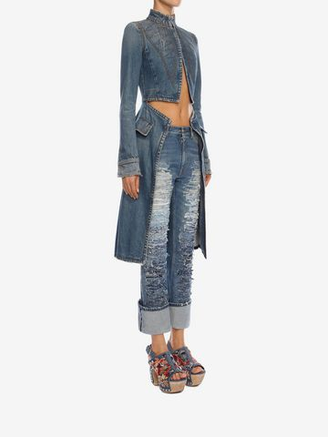 ALEXANDER MCQUEEN Denim Frock Coat Coat Woman d