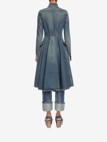 ALEXANDER MCQUEEN Denim Frock Coat Coat Woman e