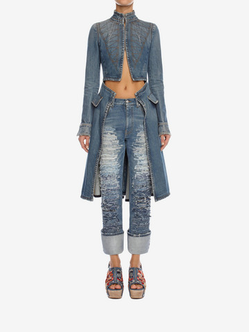 ALEXANDER MCQUEEN Denim Frock Coat Coat Woman r