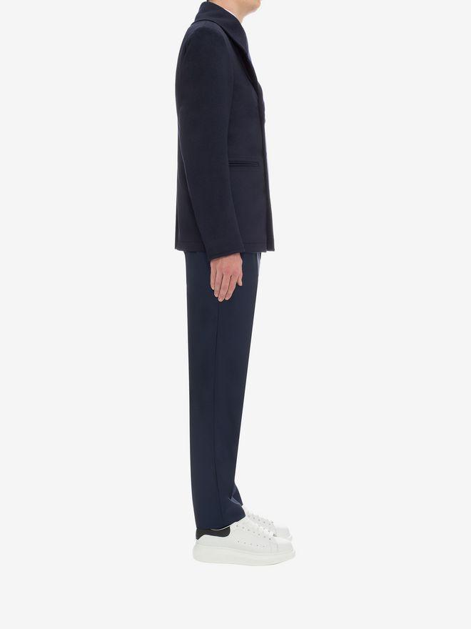 ALEXANDER MCQUEEN Wool Cashmere Classic Peacoat Coat U d