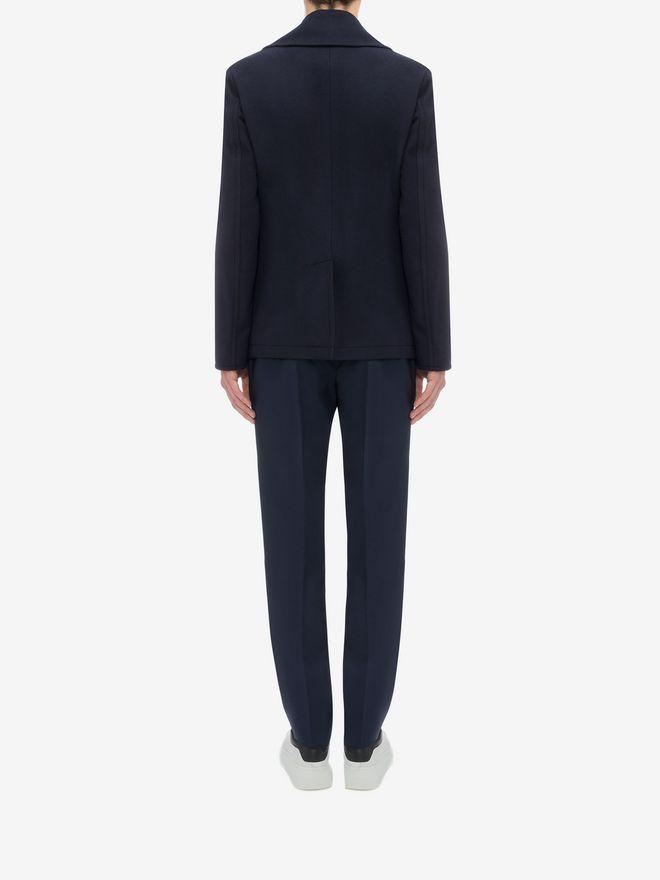 ALEXANDER MCQUEEN Wool Cashmere Classic Peacoat Coat U e