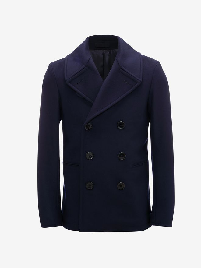 ALEXANDER MCQUEEN Wool Cashmere Classic Peacoat Coat U f