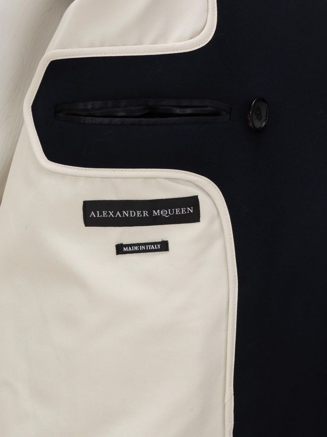 ALEXANDER MCQUEEN Wool Cashmere Classic Peacoat Coat U l