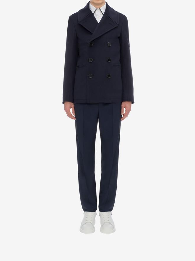 ALEXANDER MCQUEEN Wool Cashmere Classic Peacoat Coat U r