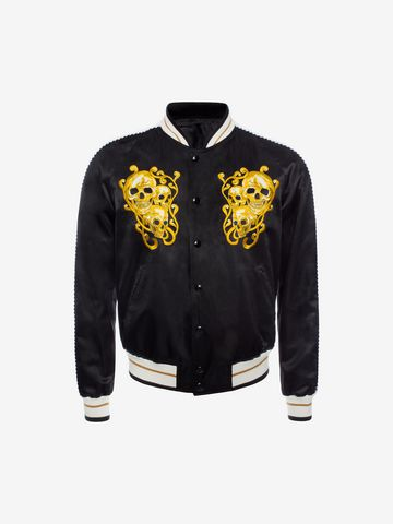 ALEXANDER MCQUEEN Embroidered Skull Blouson Jacket Bomber Jacket U f
