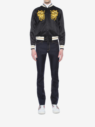ALEXANDER MCQUEEN Embroidered Skull Blouson Jacket Bomber Jacket U r