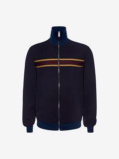 ALEXANDER MCQUEEN Bomber Jacket U Knitted Stripe Blouson Jacket f