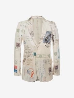 "ALEXANDER MCQUEEN Tailored Jacket U ""Letters from India"" Print Jacket f"