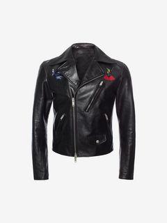 ALEXANDER MCQUEEN Jacket U Shiny Calf Leather Biker Jacket f