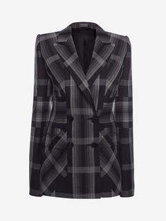 ALEXANDER MCQUEEN Jacket D Paneled Wool Plaid Jacket f