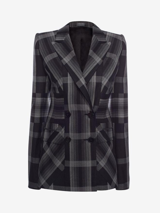 ALEXANDER MCQUEEN Panelled Wool Plaid Jacket Jacket D f