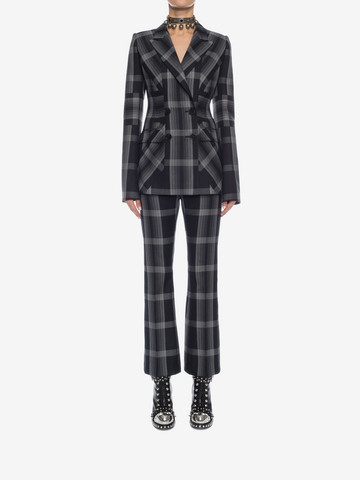 ALEXANDER MCQUEEN Panelled Wool Plaid Jacket Jacket D r