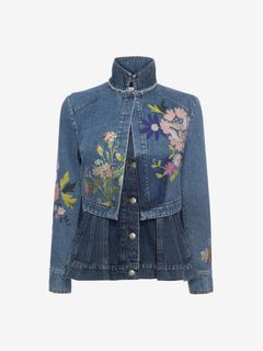 ALEXANDER MCQUEEN Jacket D Embroidered Double Denim Peplum Jacket f