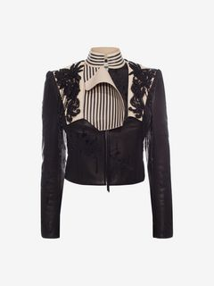 ALEXANDER MCQUEEN Jacket D Embroidered Leather Jacket f