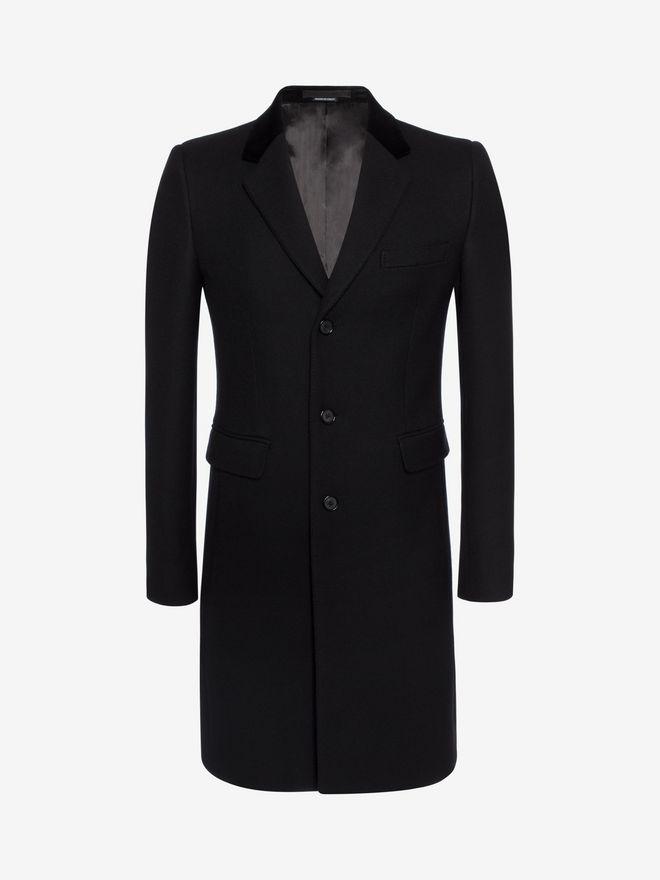 ALEXANDER MCQUEEN Silk Wool Fitted Coat Coat Man f