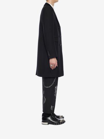 ALEXANDER MCQUEEN Silk Wool Fitted Coat Coat Man d