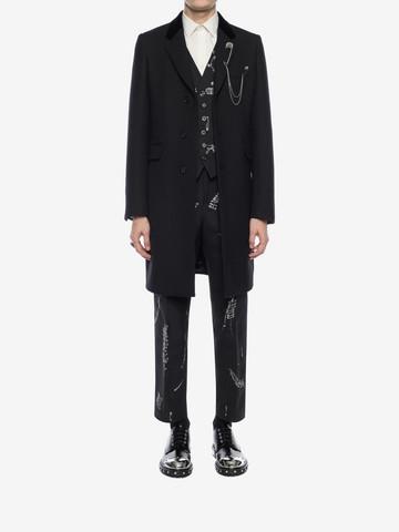 ALEXANDER MCQUEEN Silk Wool Fitted Coat Coat Man r