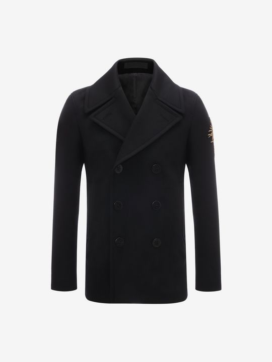 ALEXANDER MCQUEEN Embroidered Peacoat Coat U f