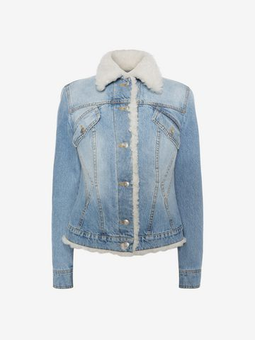 ALEXANDER MCQUEEN Shearling Denim Jacket Jacket D f