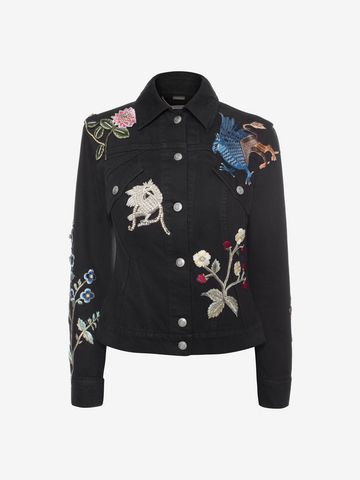 ALEXANDER MCQUEEN Embroidered Denim Jacket Jacket D f